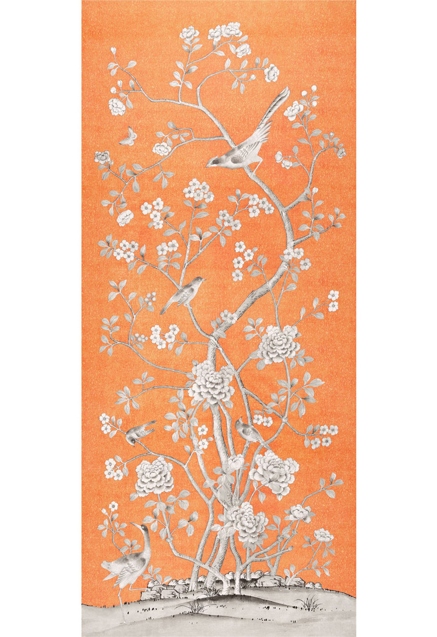 Chinois Palais Wallcovering by Mary McDonald in Tangerine