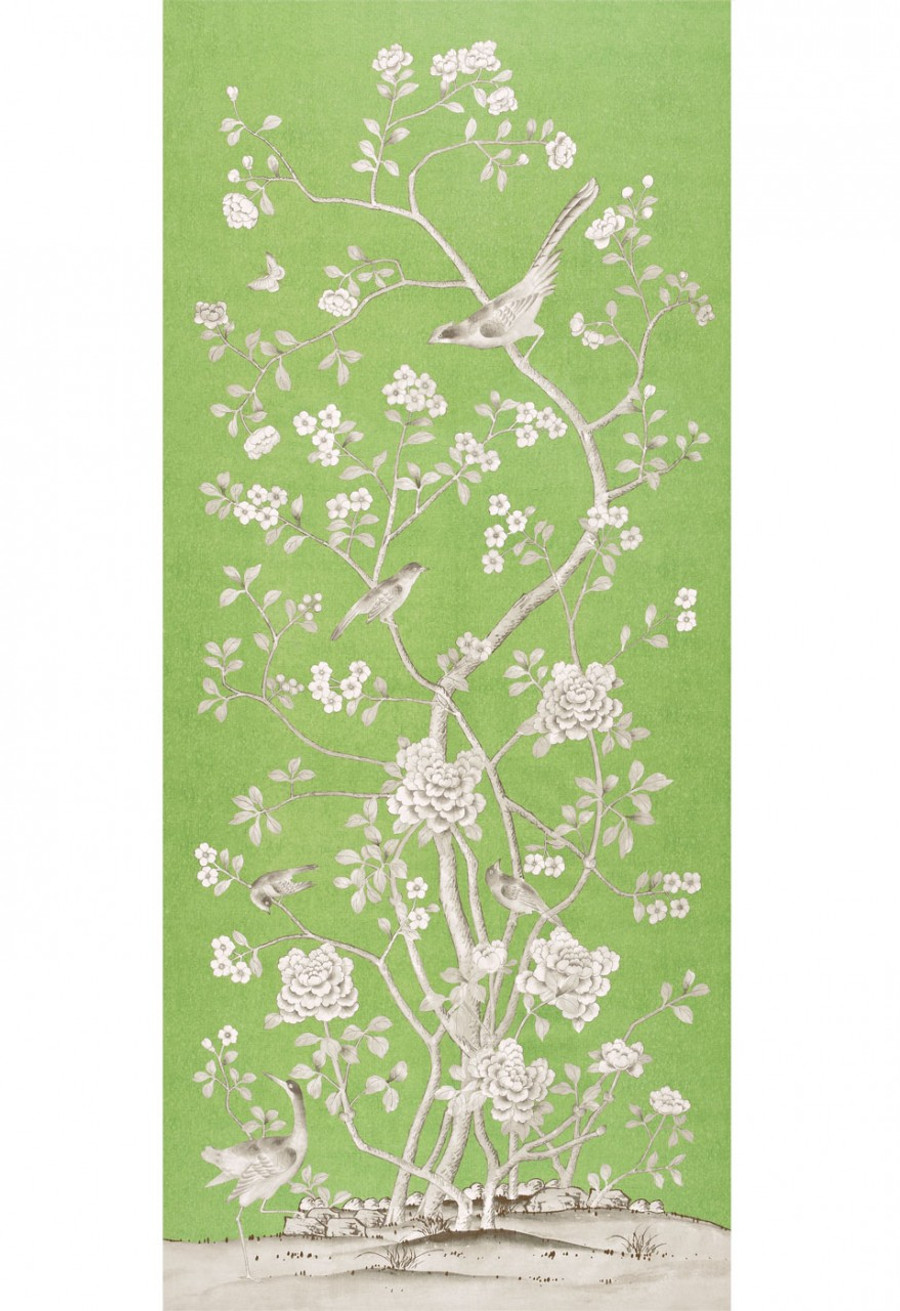 Chinois Palais Wallcovering by Mary McDonald in Lettuce
