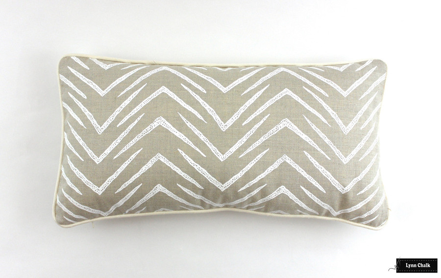 Groundworks Herringbone Pillow in Jute/White with Ivory Welting (12 X 22)
