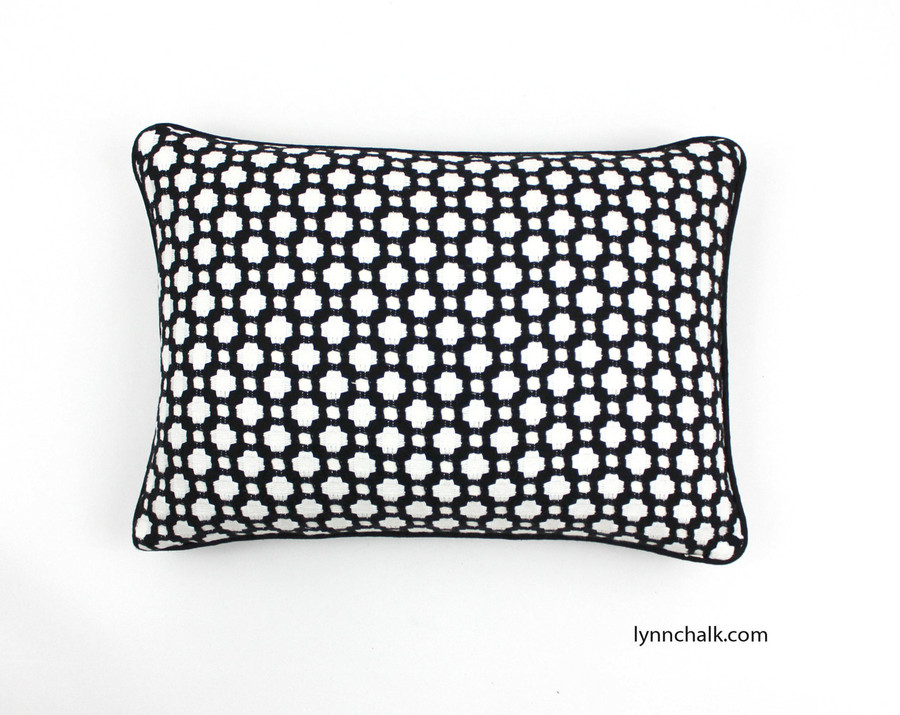 Celerie Kemble Betwixt in Black & White 14 X 20 Pillow with Black Linen Welting