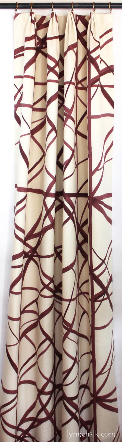 Custom Euro Pleated Drapes Single Width in Kelly Wearstler Channels in Ebony/Ivory