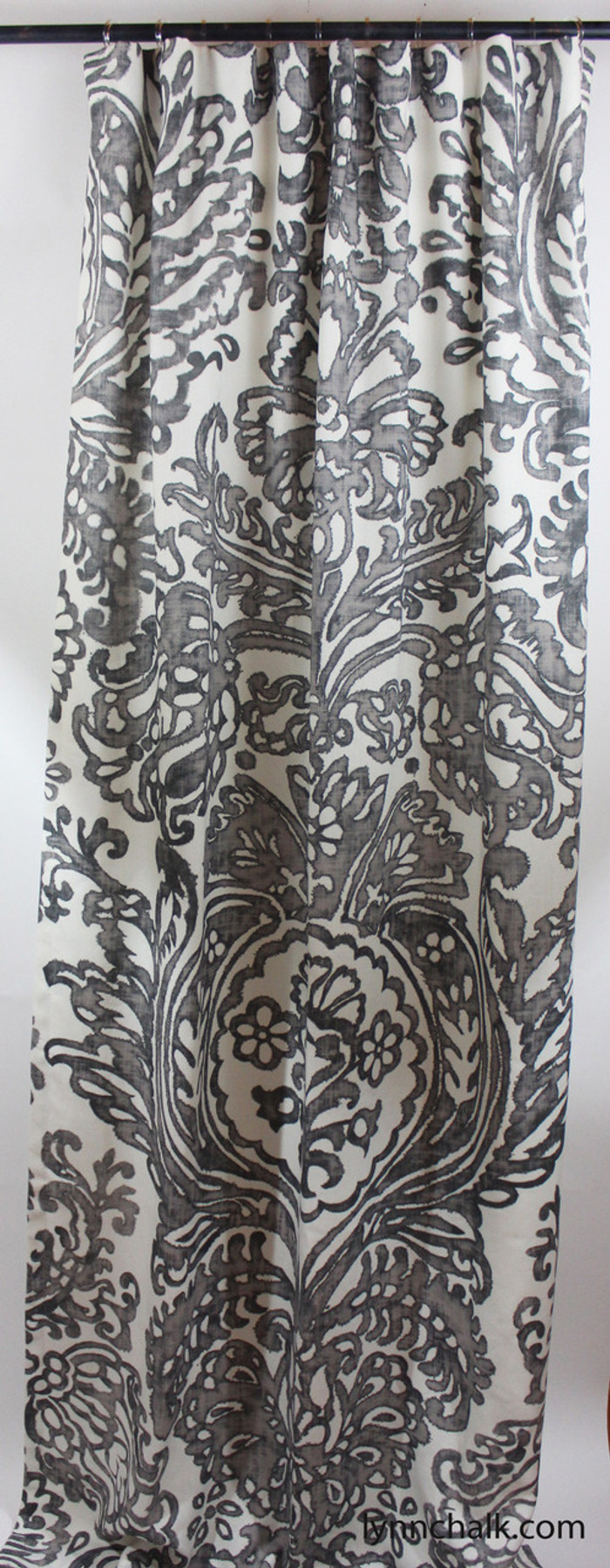 Custom Drapes by Lynn Chalk in Schumacher Tremezzo Damask in Graphite