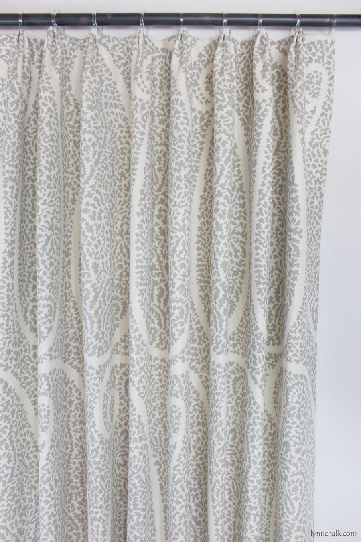 Custom Fan Pleated drapes in Schumacher Ambala Paisley Fog