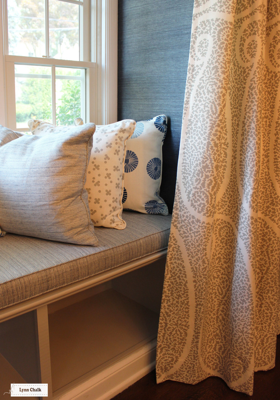 Window Seat Cushions and Pillows - Groundworks Kasa in Blue, Christopher Farr Pollen in Smoke and Schumacher Travertine in Denim.  Drapes in Schumacher Ambala Paisley in Fog.