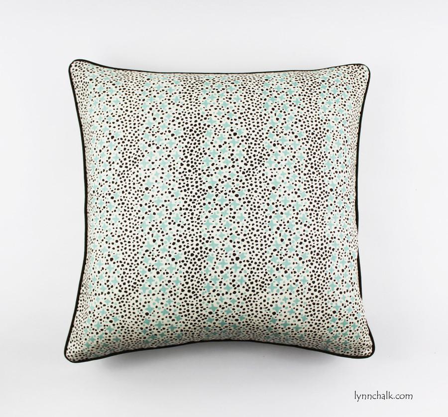 Custom 24 X 24 Pillows in Quadrille Jacks II Green Brown Dots on Tint with welting in Robert Allen Kilrush II Java