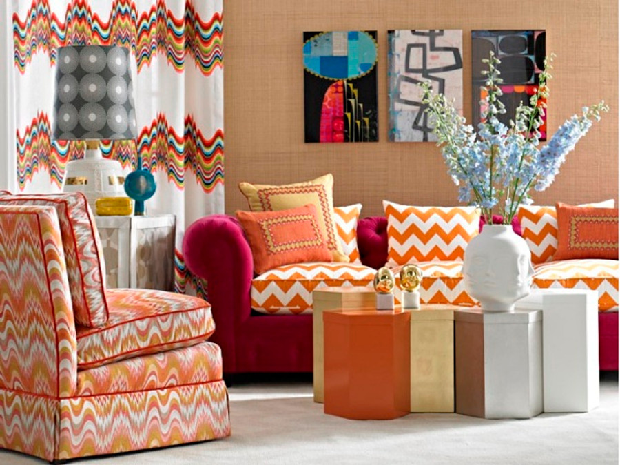 Sofa Cushions in Jonathan Adler Limitless -Persimmon, Chair in Acid Palm-Nectar and Drapes in Distorted