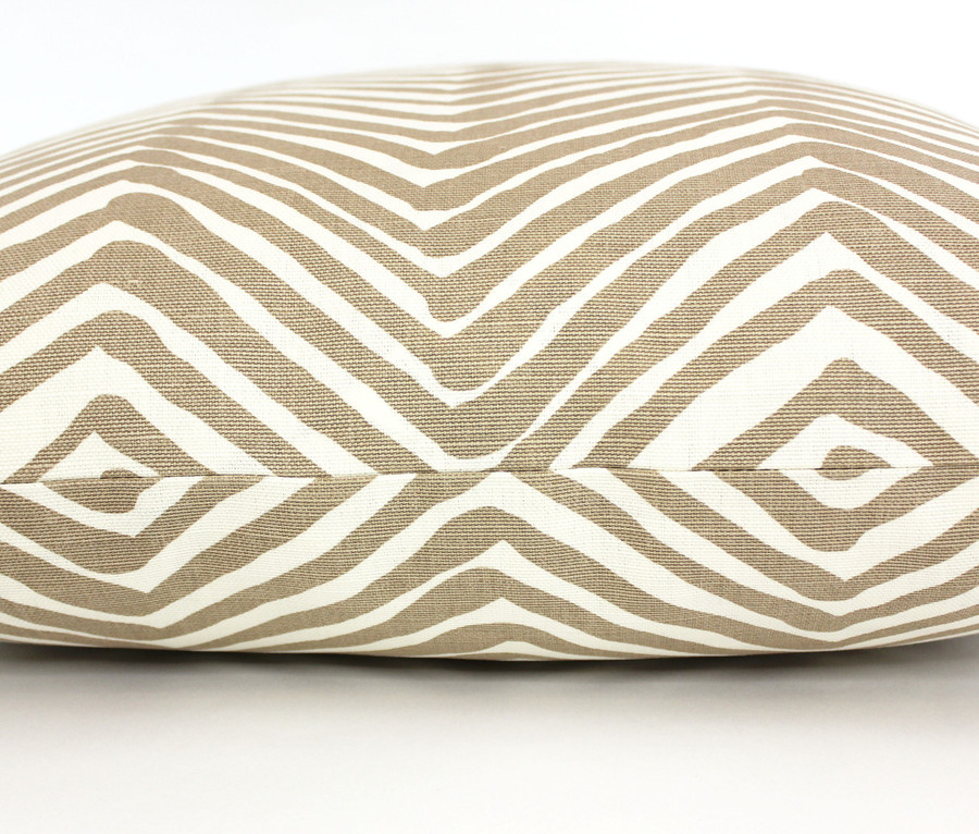 "ON SALE Quadrille Alan Campbell Zig Zag Pillow in Taupe on Tint (14"" X 22"")"