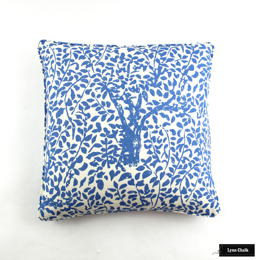 Quadrille Arbre De Matisse Reverse Ecru on Natural pillows self welting (22 X 22)