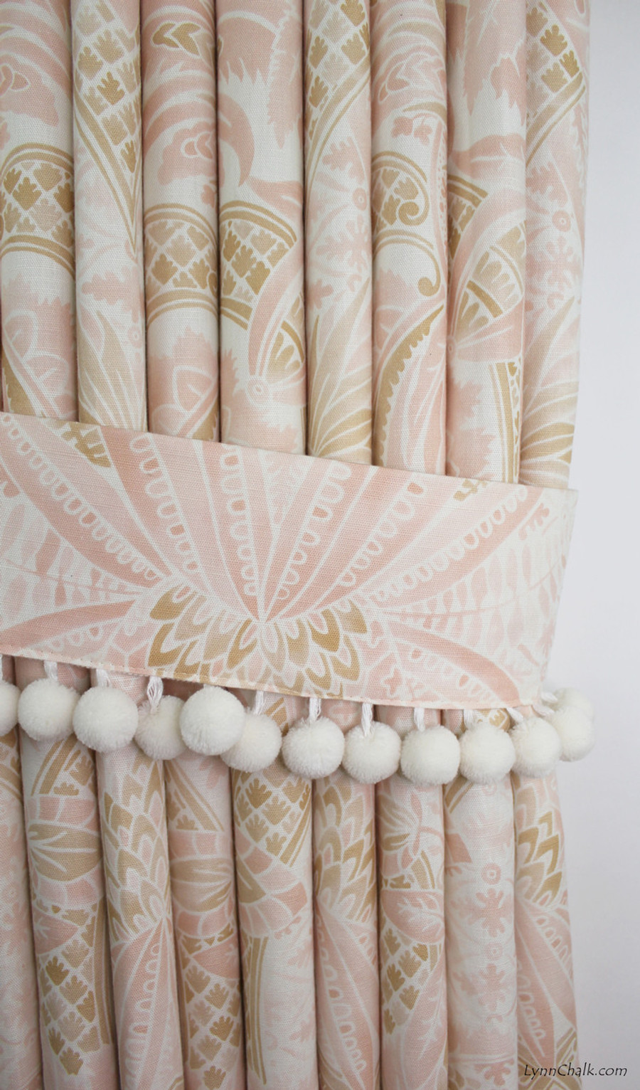 Custom Drapes in Cap Ferrat Blush.  Tie Backs with Samuel and Sons Pom Pom Trim in Whipped Cream.