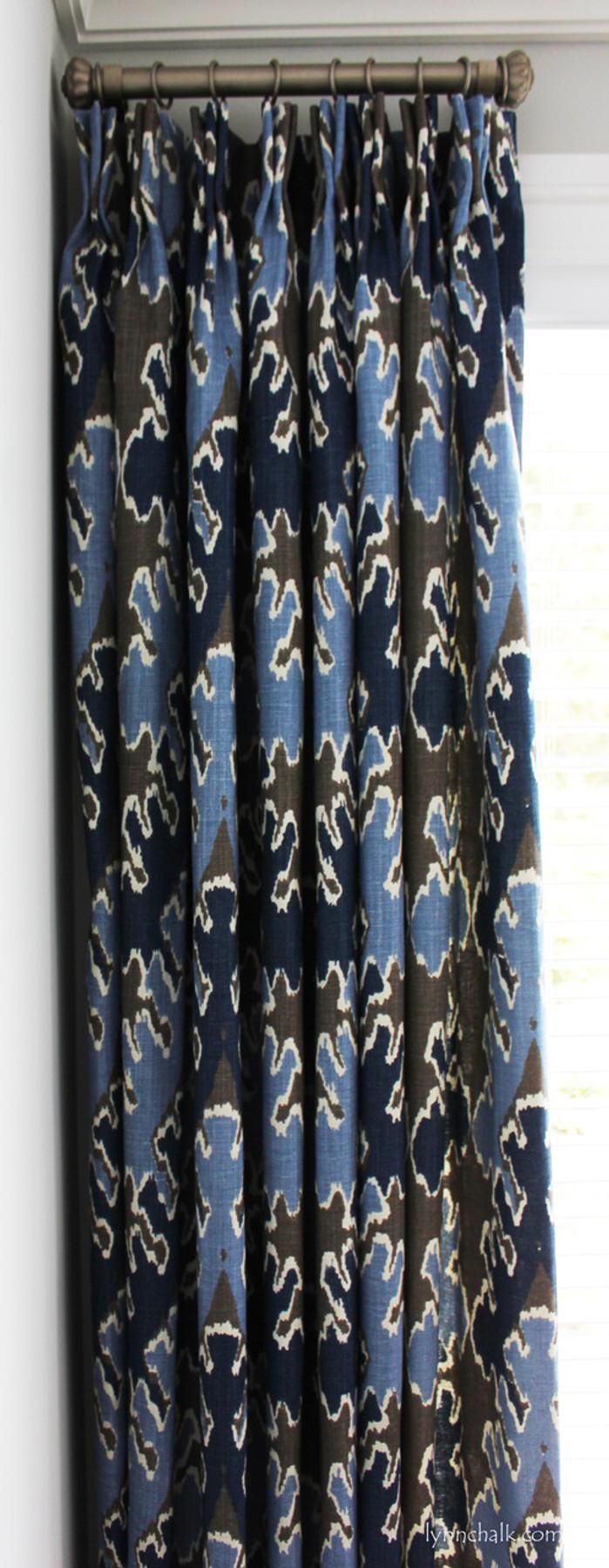 Custom Drapes by Lynn Chalk in Kelly Wearstler Bengal Bazaar Grey Indigo