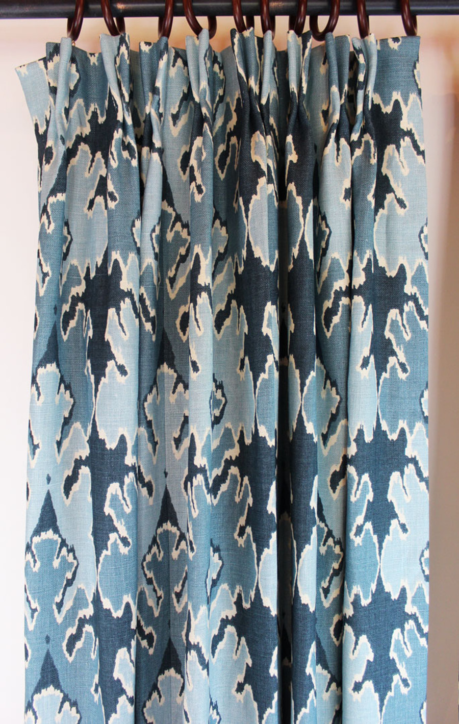 Custom Pleated Drapes by Lynn Chalk in Kelly Wearstler Bengal Bazaar in Teal