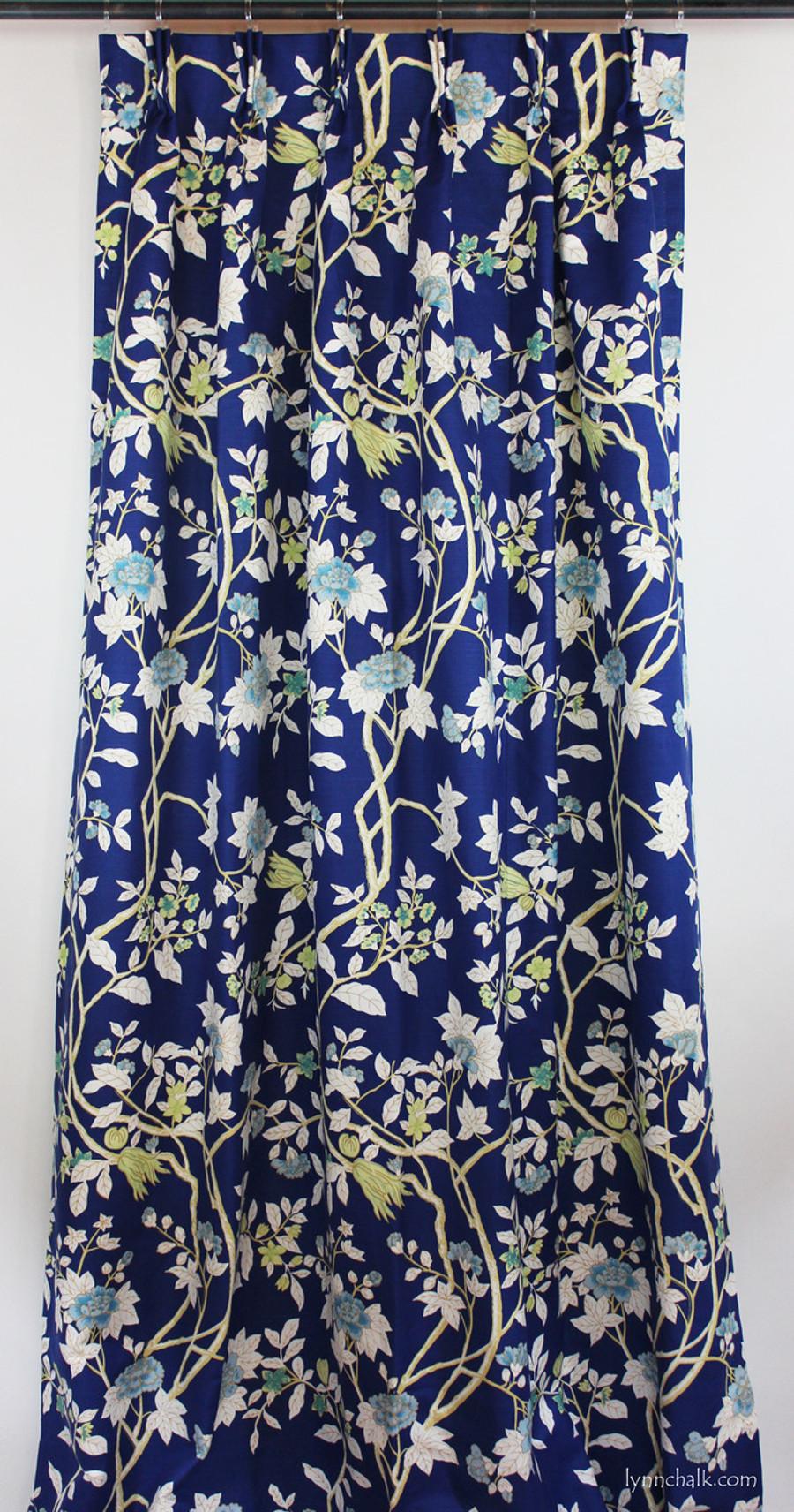 Custom Drapes 1 1/2 Widths by Lynn Chalk in Quadrille Happy Garden New Navy on Tint.