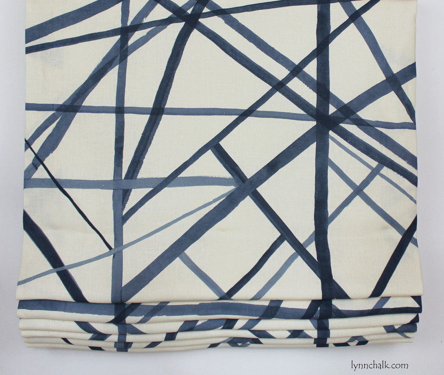 Custom Roman Shade and Pillows by Lynn Chalk in Kelly Wearstler Channels in Periwinkle