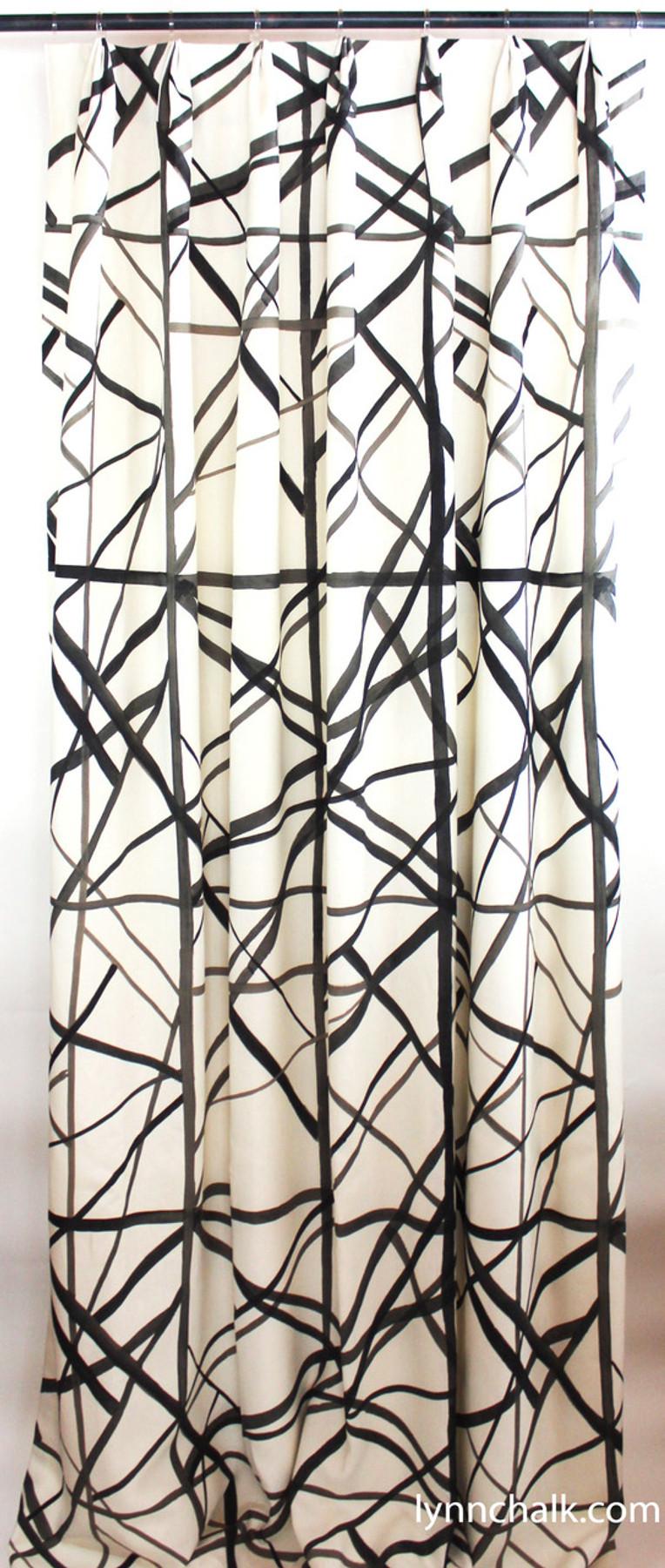 Custom Fan Pleated Drapes by Lynn Chalk in Kelly Wearstler Channels in Ebony/Ivory.
