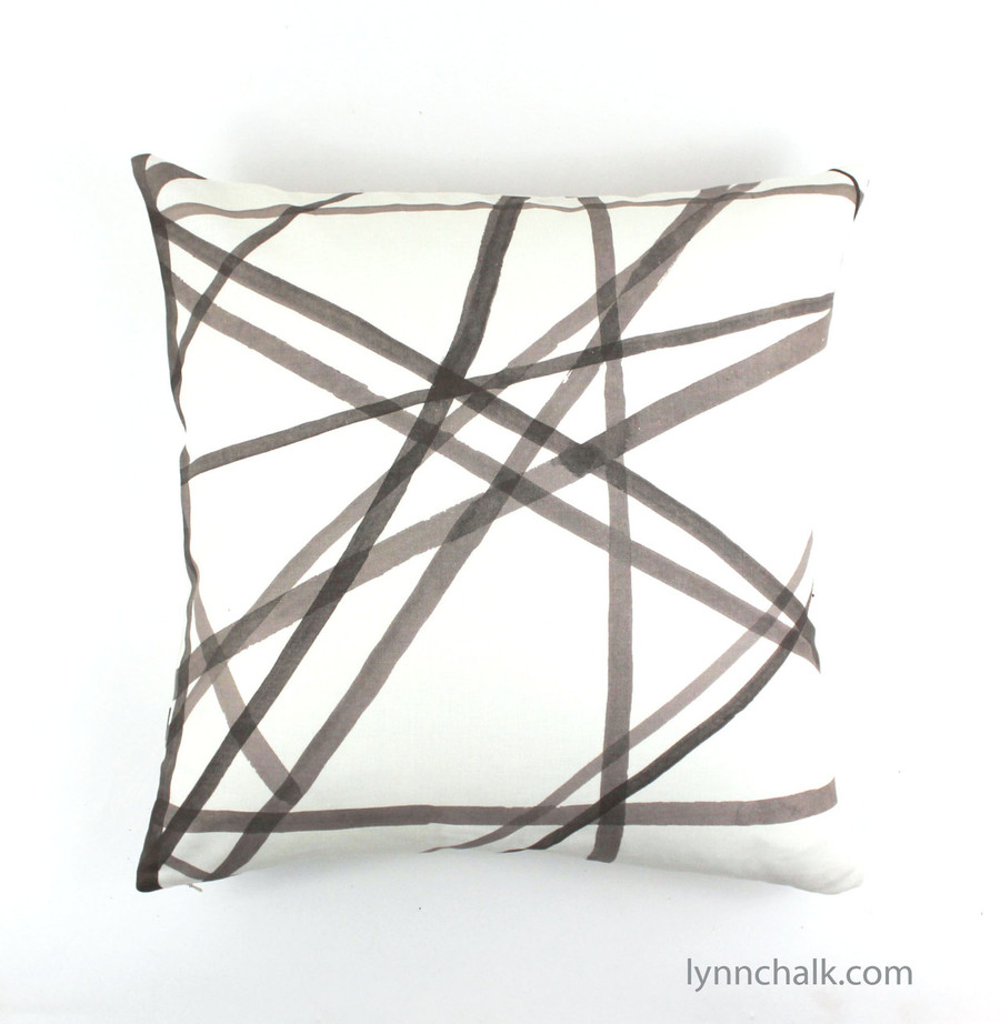 Custom Pillows in Kelly Wearstler Channels in Taupe/Ivory.