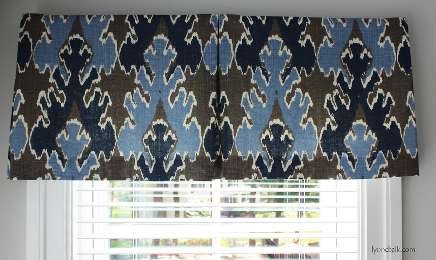 Box Pleated Valance by Lynn Chalk in Kelly Wearstler Bengal Bazaar Grey Indigo