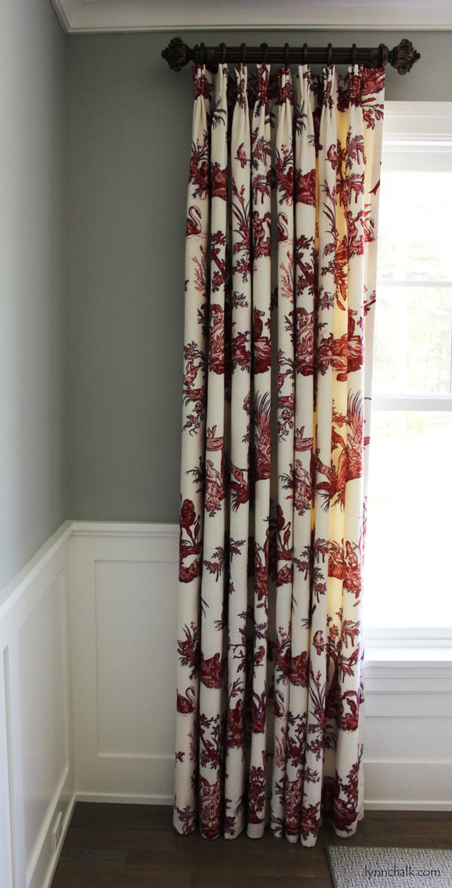 """Custom Double Width Drapes by Lynn Chalk in Continenti Rouge/Prussian. Paris Texas Hardware-Moonlight Finish; 2"""" Diameter Fluted Rods - 24"""" Long with Imogene Finials"""