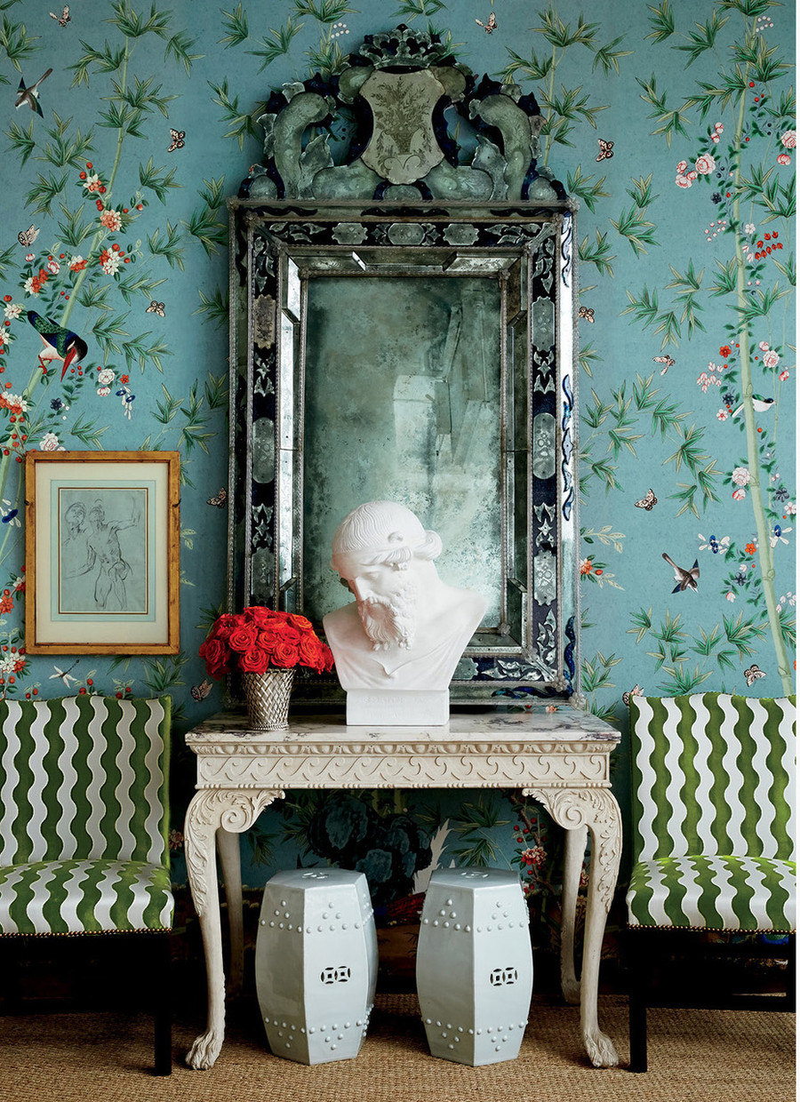Wallpaper is Brighton Pavillion in Multi.  Chairs are in The Wave in Lettuce.