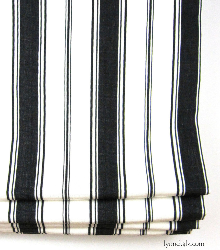 Custom Roman Shades by Lynn Chalk in Branca Stripe Noir
