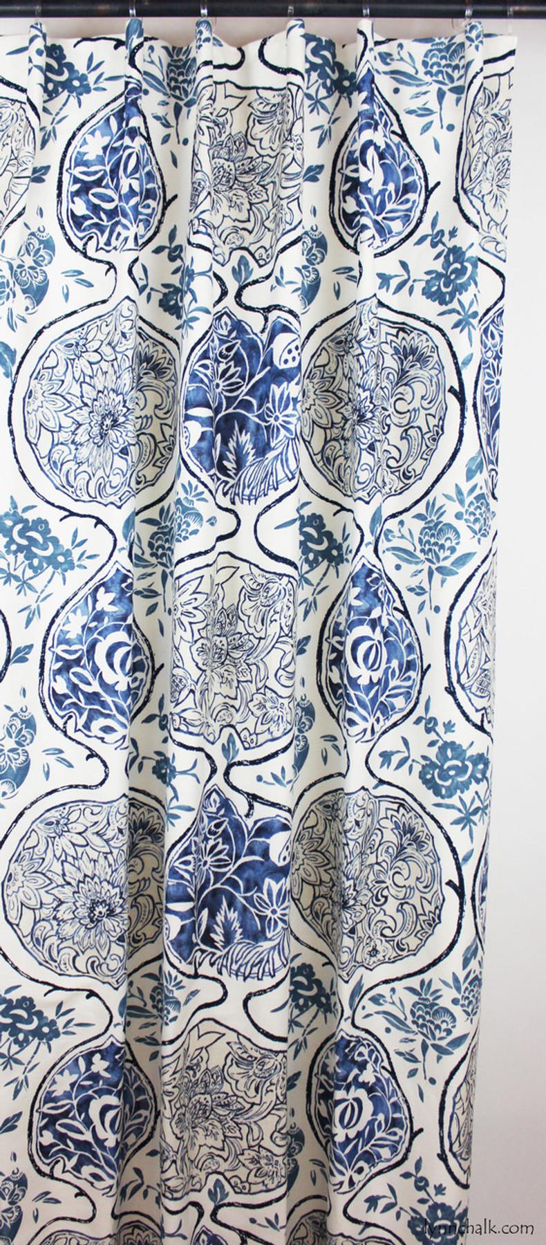 Custom Drapes by Lynn Chalk in Katsugi Blues