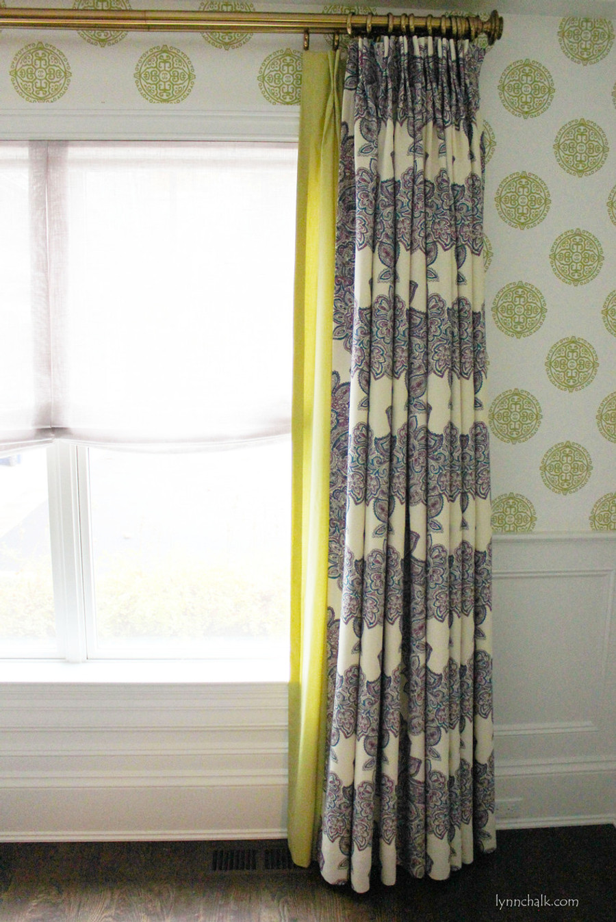 Duralee Maris Custom Drapes (shown in Currant-also comes in Rose, Sea Green and Multi)