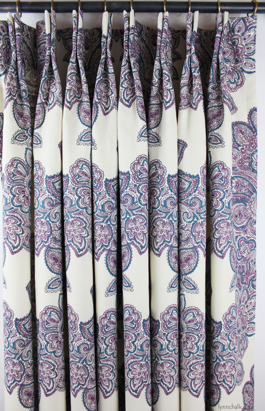 Duralee Maris Custom Dining Room Drapes (shown in Currant-also comes in Rose, Sea Green and Multi)