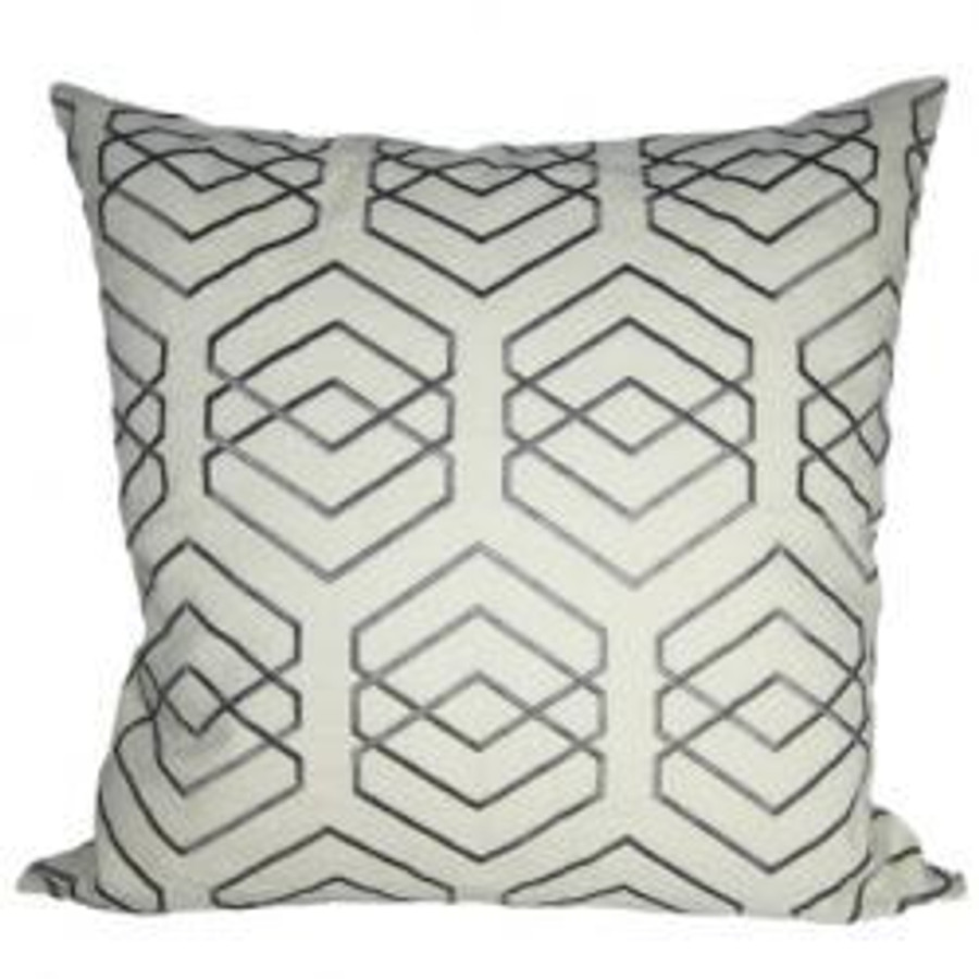 Pillow in David Hicks Kyoto Shrine Ecru Grey