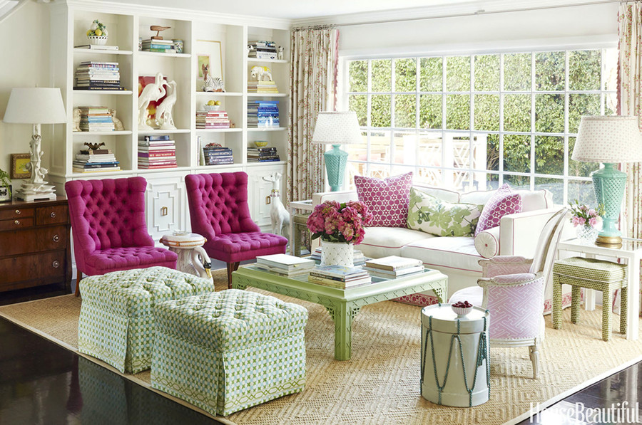 Ottomans with Double Cross New Blue with Jungle Green.  Light Pink Chair is Saya Gata.  Center Pillow on sofa is Peter Dunham Figleaf.
