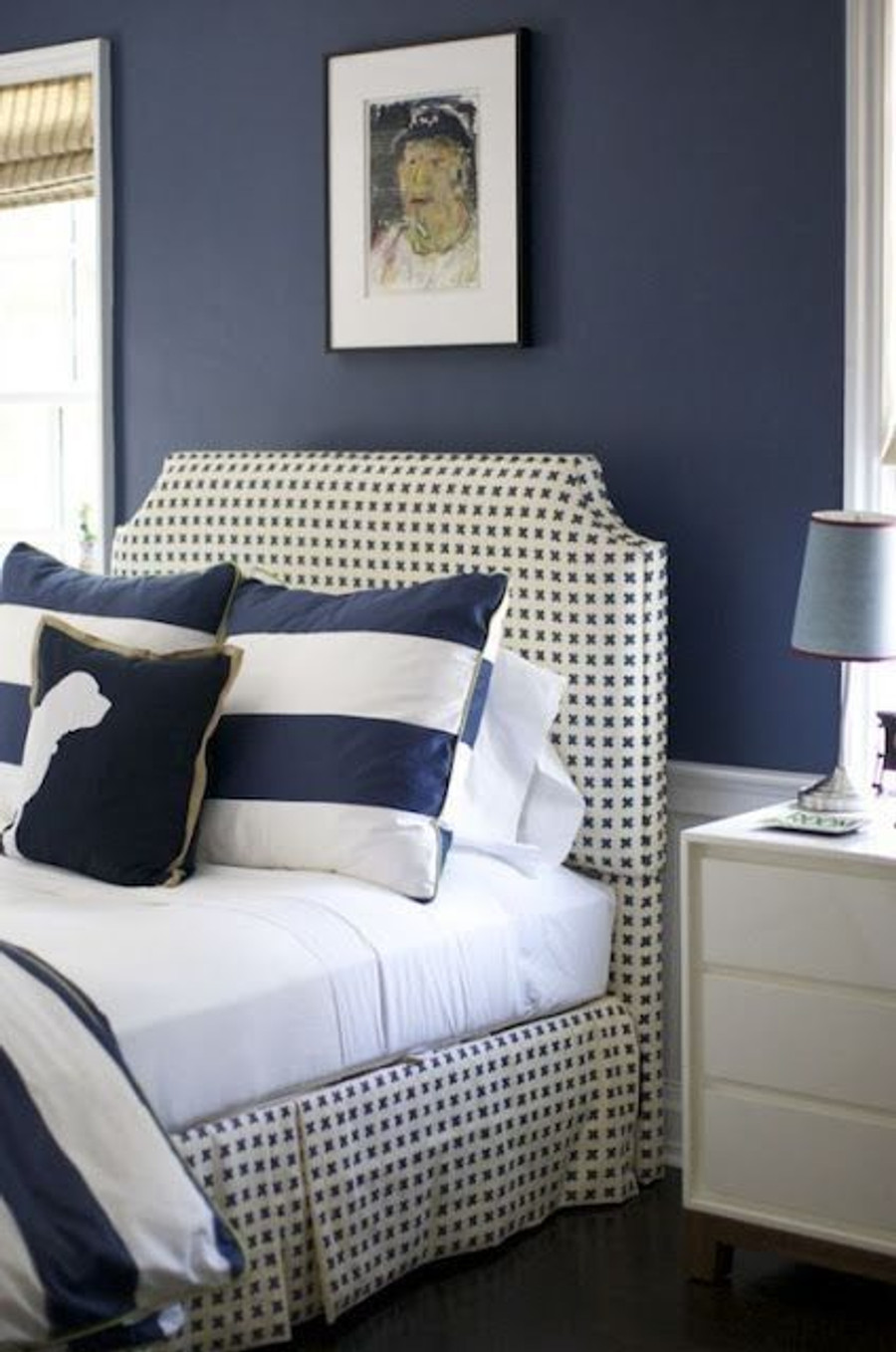 Cross Check Navy on Tint on Bed