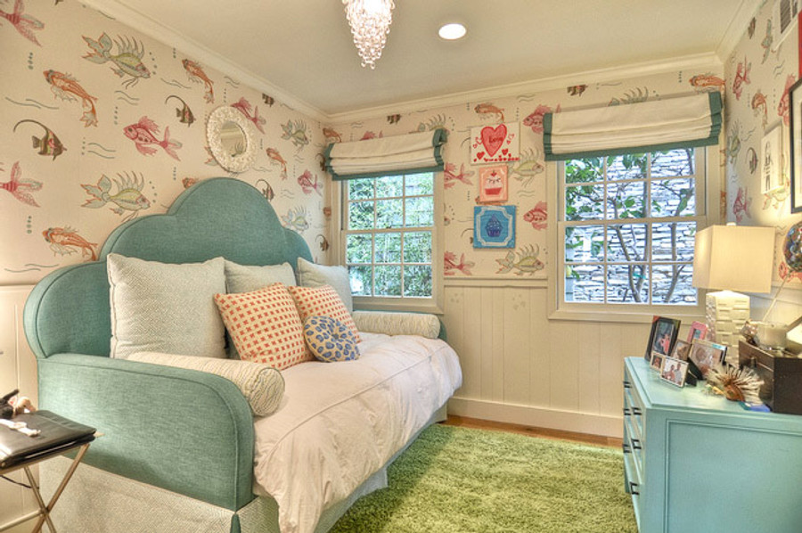 Bedroom with Pillows in Cross Check New Shrimp.  Back pillows and Daybed Skirt are Quadrille Java Java.  Wallpaper is Osborne & Little Aquarium.