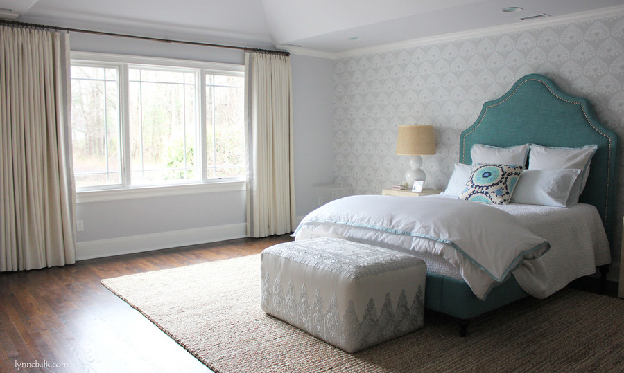 """Kravet Dublin Linen in Creme with 2"""" Wide Samuel & Sons Grosgrain Ribbon Trim in Mercury set in 1 1/2"""" from edge.  Drapes are Triple Wide with Euro Pleat."""