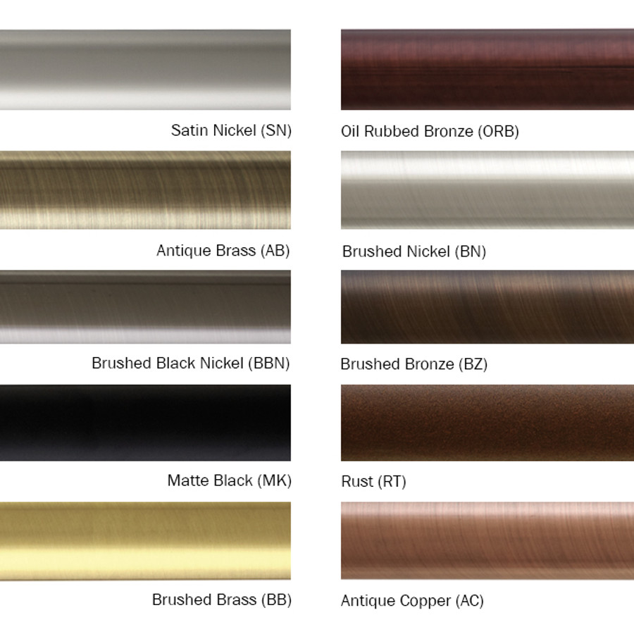 Drapery Hardware Finishes Available