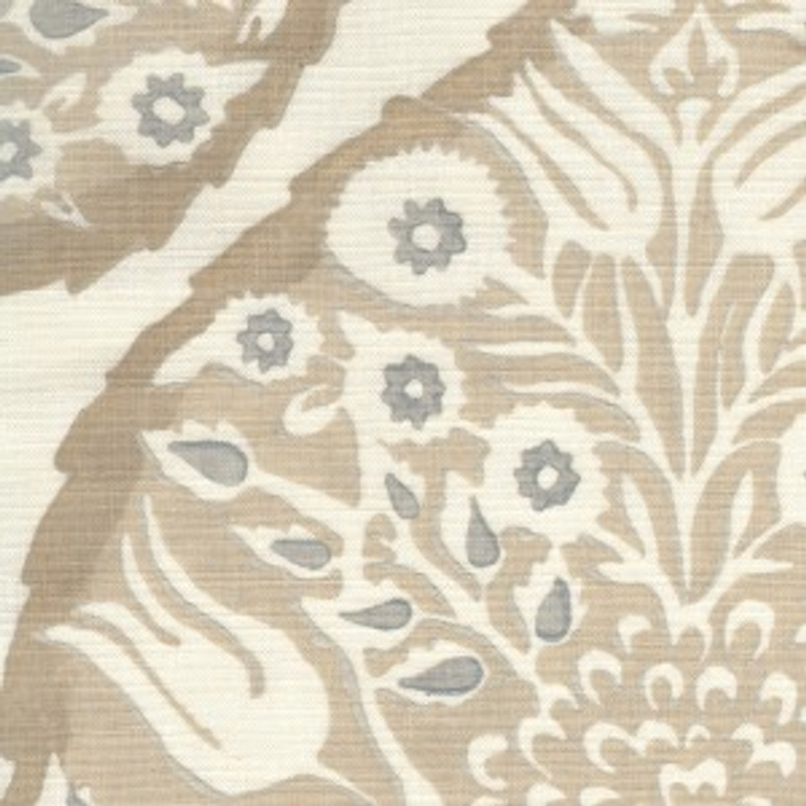 Lotus in Light Flax on Cream Linen