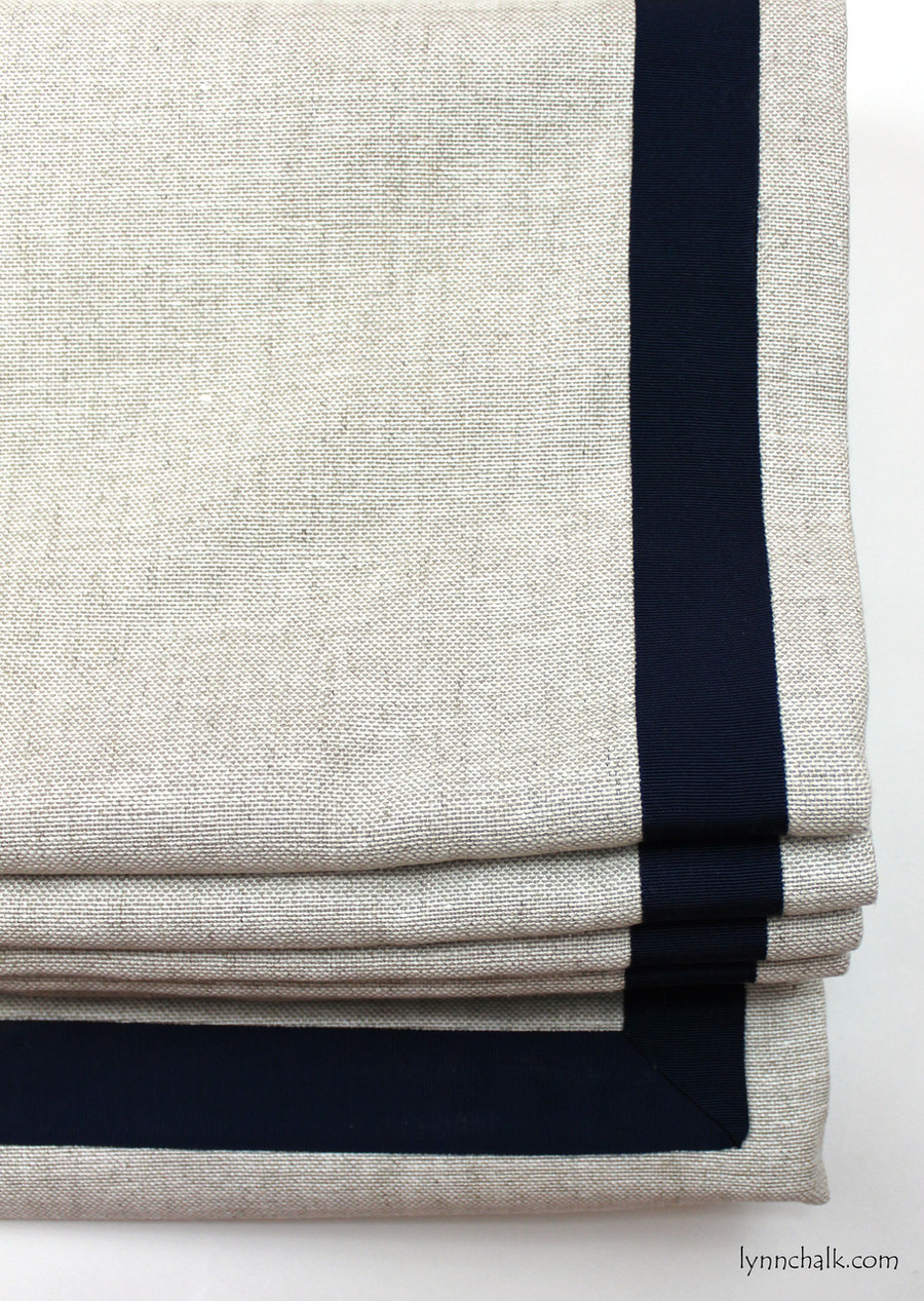 "Custom Roman Shade in Robert Allen Linen Canvas Pale Cream with Samuel & Sons 1 1/2"" Grosgrain Trim in Navy set in 1"" from edge."