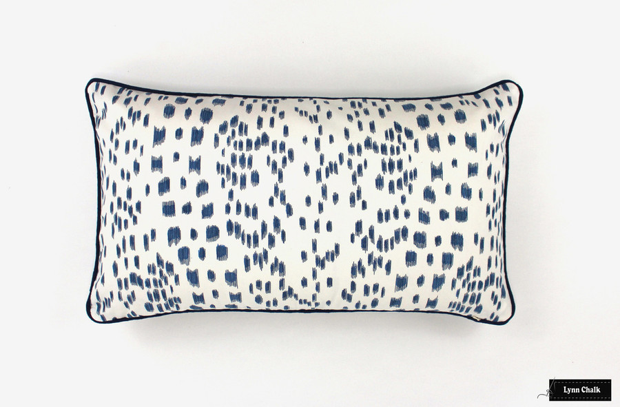 ON SALE Brunschwig & Fils/Lee Jofa Les Touches Pillows in Blue with Contrasting Navy Welting (14 X 24) Only 1 Remaining at this Sale Price