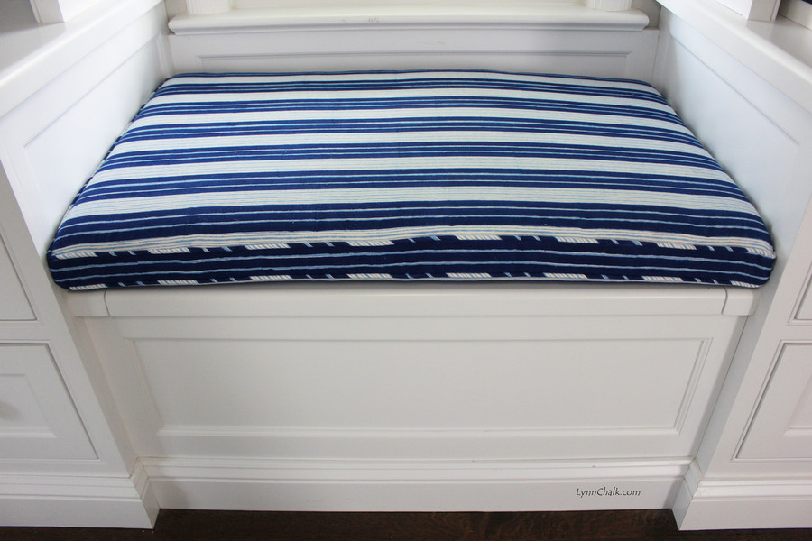 Windowseat Cushion in John Robshaw Vintage Stripe Indigo with Self Welting