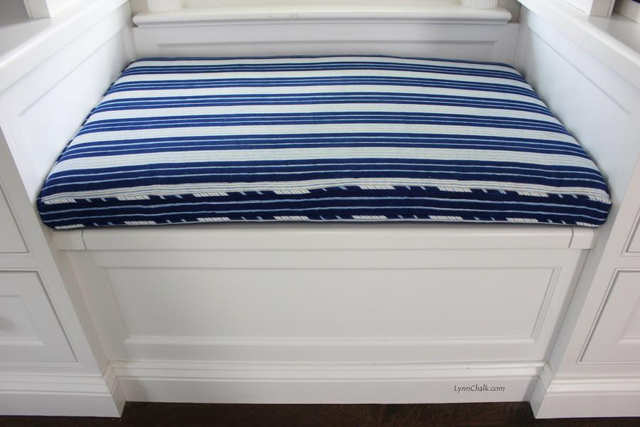 Windowseat Cushion in John Robshaw Vintage Stripe Indigo with Self Welting
