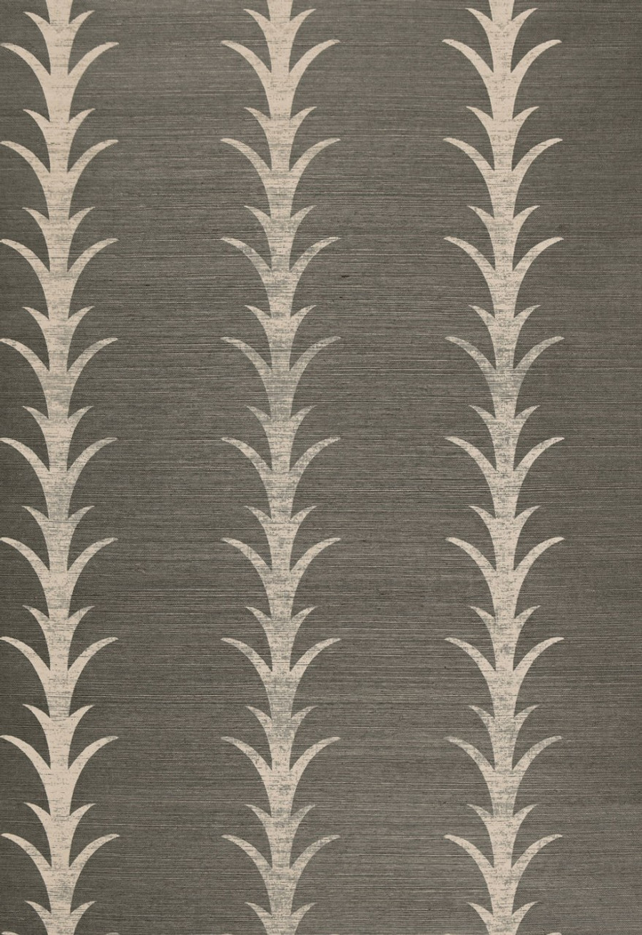 Celerie Kemble for Schumacher Acanthus Stripe Haze Wallpaper (Priced and Sold by the Yard. Must order in 8 yard increments.  Minimum Order is 8 yards.)