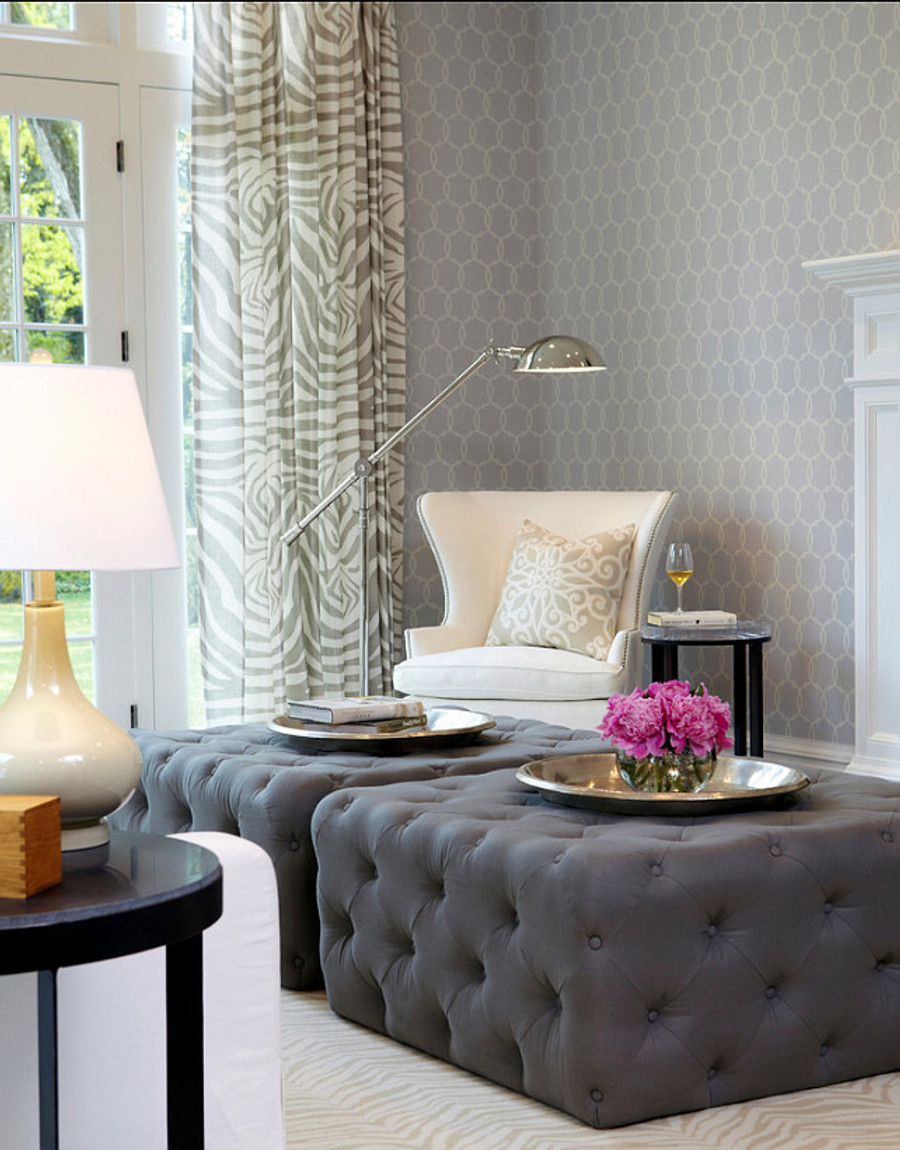 Lee Jofa Dinisen Linen Drapes.   Pillow Rosegate Embroidered Print in Pumice by Schumacher.  Wallpaper Schumacher Tracery.