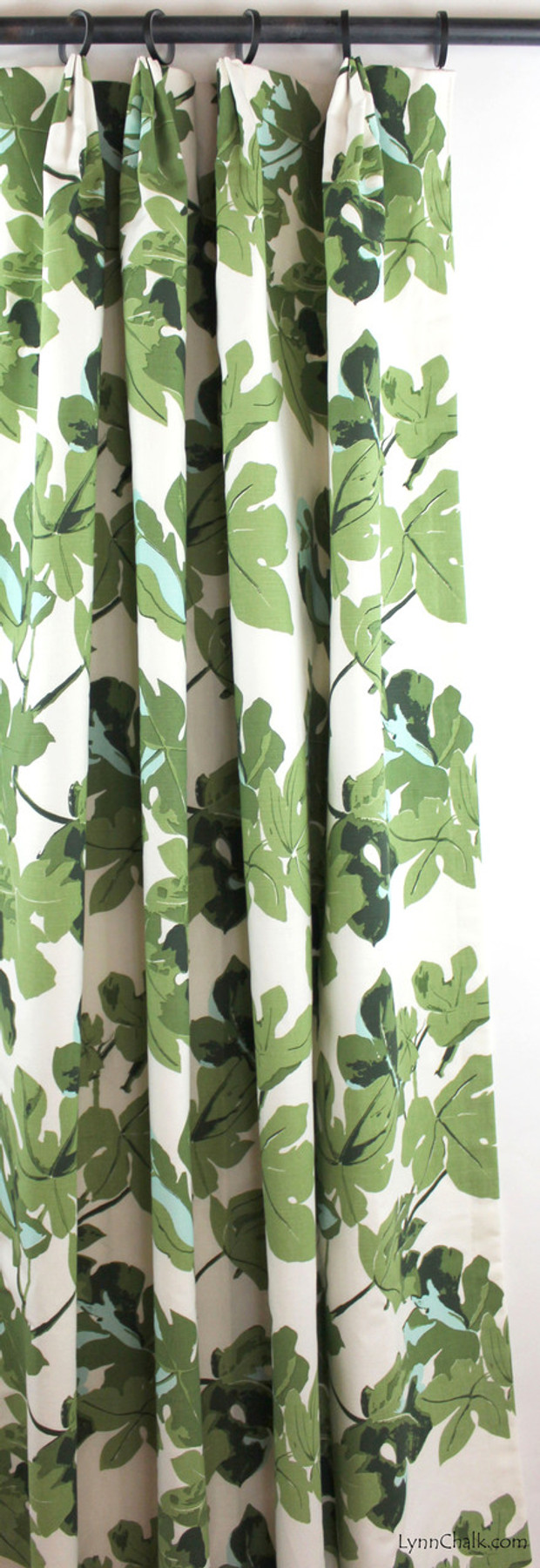 Fan Pleated Drapes in Fig Leaf on White