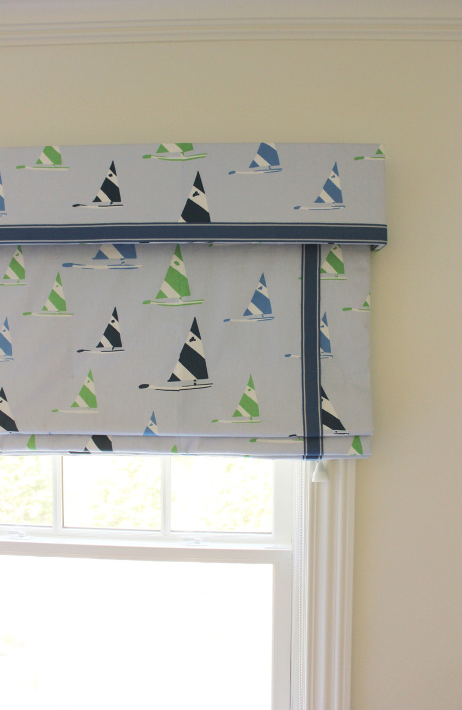 Roman Shade with Valance Boys Room (Toni Gallagher Interiors)