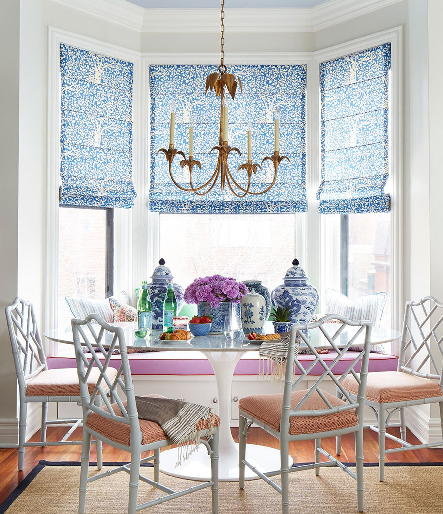 Roman Shades in Quadrille Arbre De Matisse Reverse-China Blue  (By Summer Thornton)