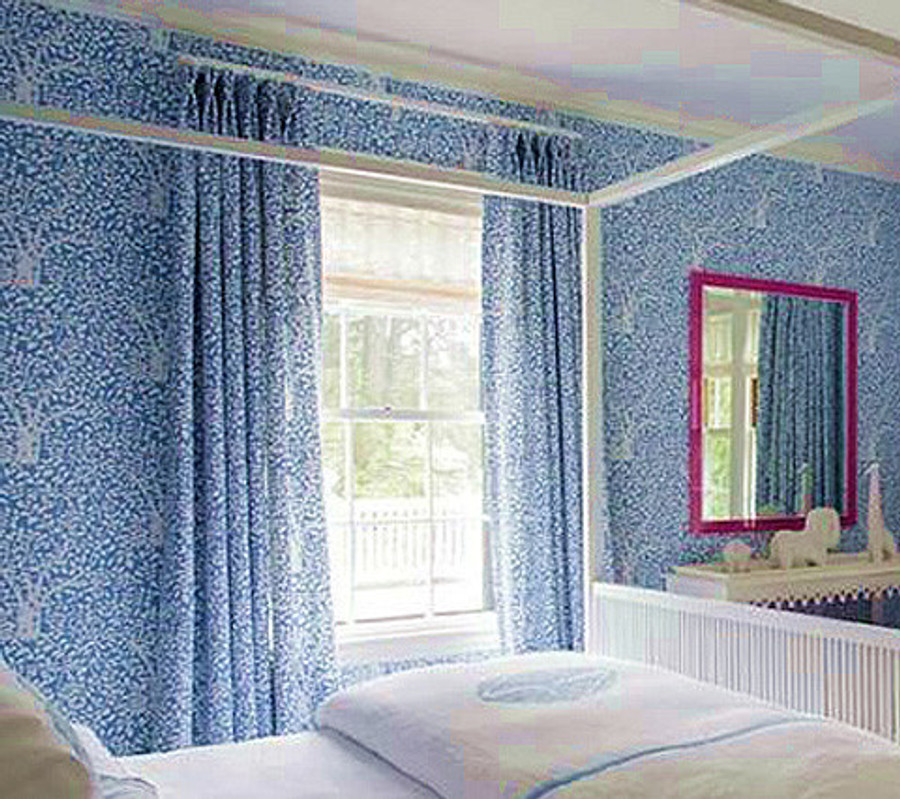 Arbre De Matisse Drapes with Matching Wallpaper in China Blue