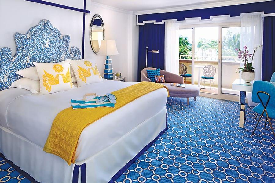 Quadrille Arbre De Matisse Reverse Bedroom Headboard (Jonathan Adler-Architectural Digest)