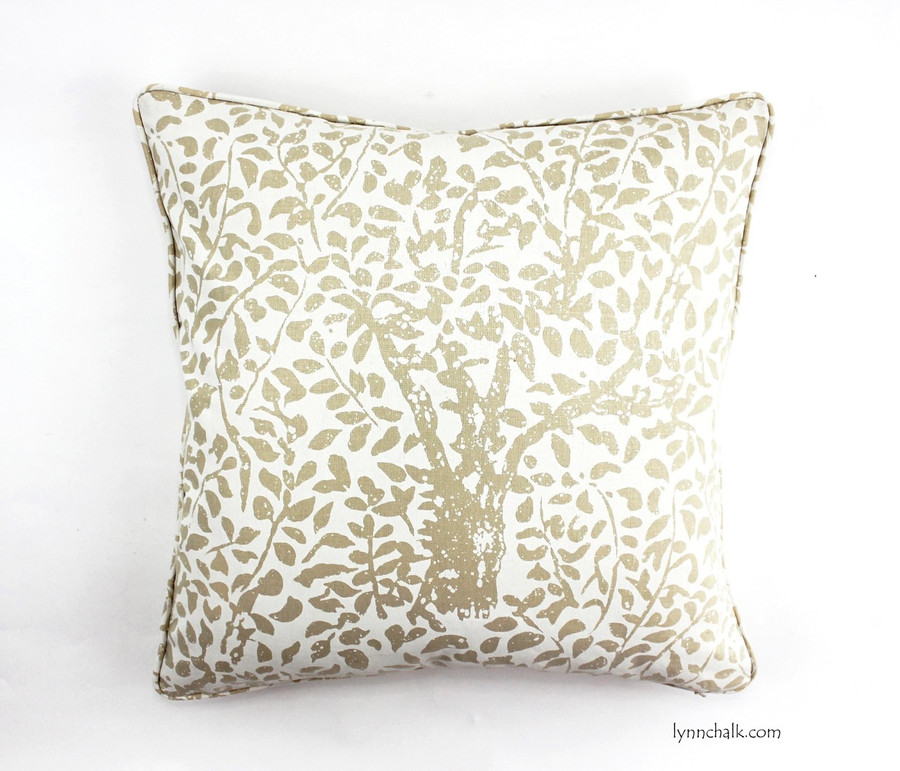 Quadrille Arbre De Matisse Reverse Ecru on Natural pillows self welting (20 X 20)