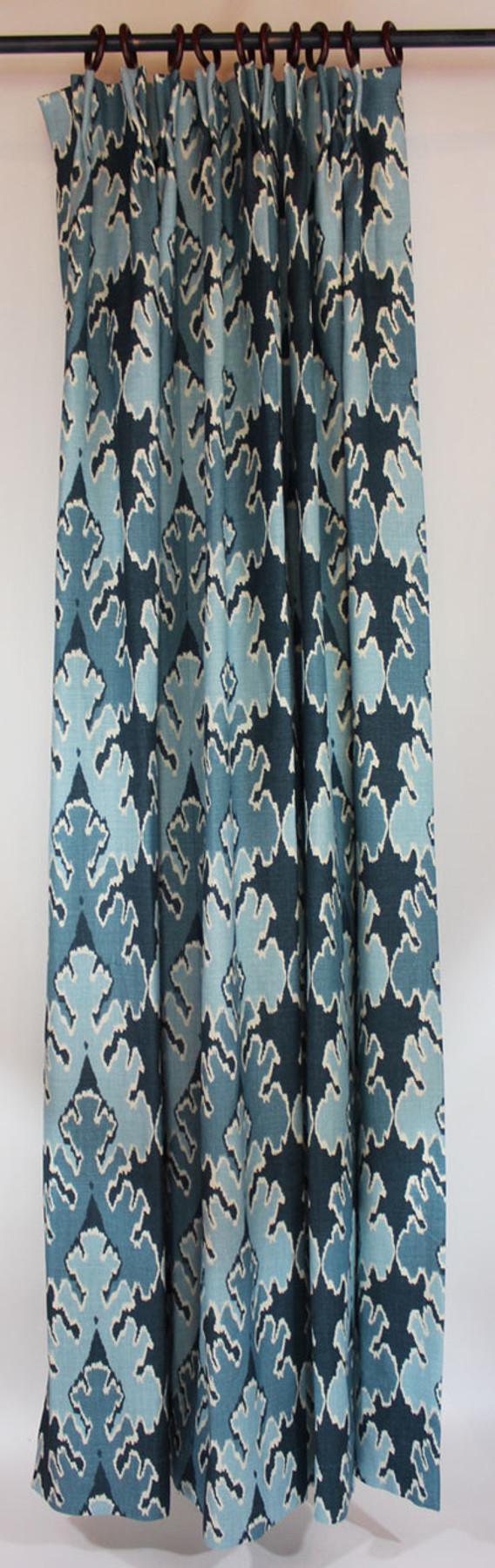 One pleated panel (1 1/2 Widths) in Kelly Wearstler Bengal Bazaar Teal