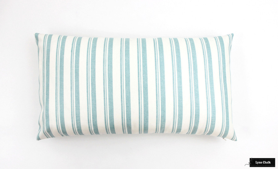 Capri Aqua/White Pillow (12 X 22)