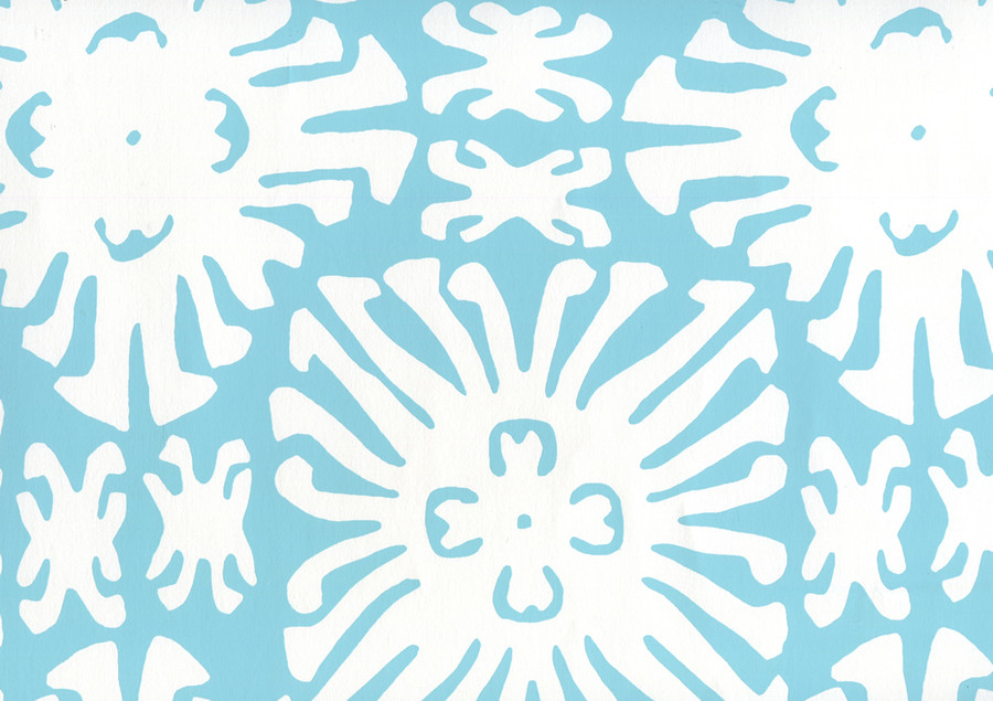 Sigourney Reverse Small Scale Turquoise on white 2485WP 01