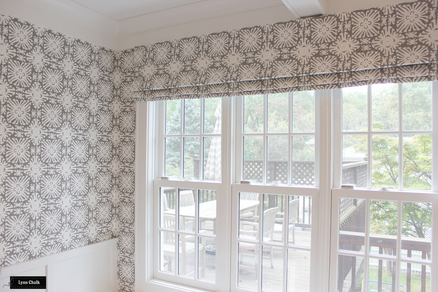 Quadrille Sigourney Reverse Grey on White Small Scale Wallpaper with matching Roman Shade