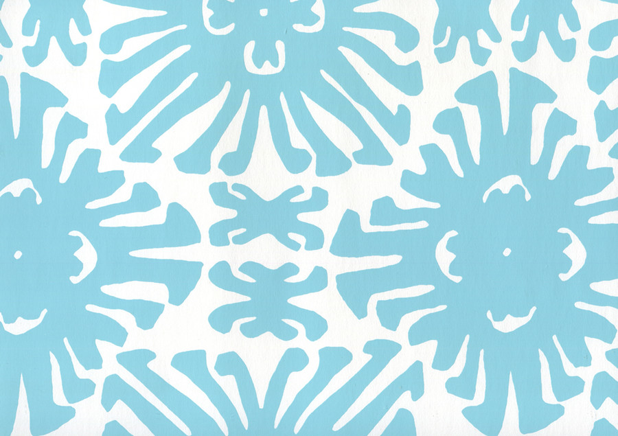 Sigourney Small Scale Turquoise on white 2475WP 01